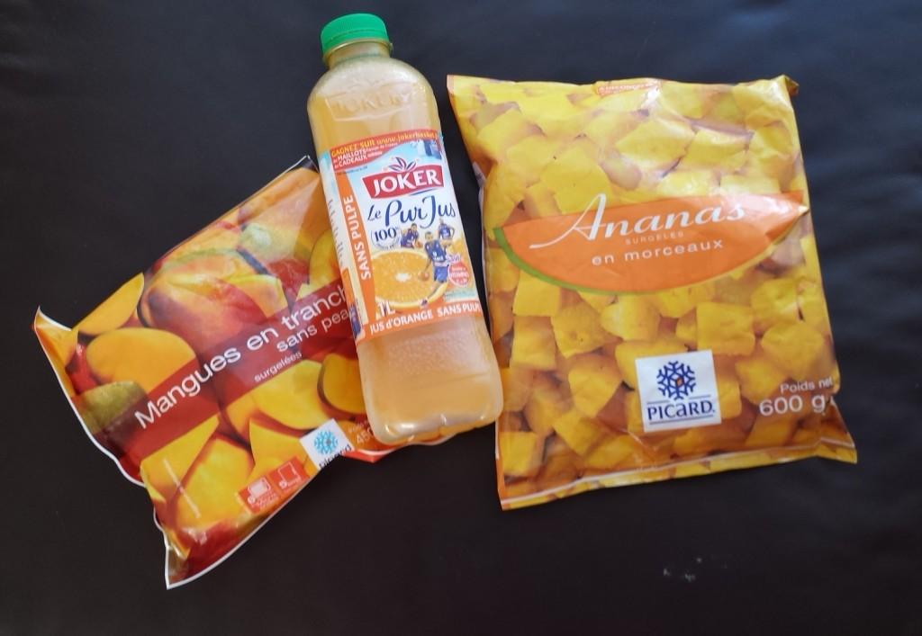 mangue ananas jus d'orange
