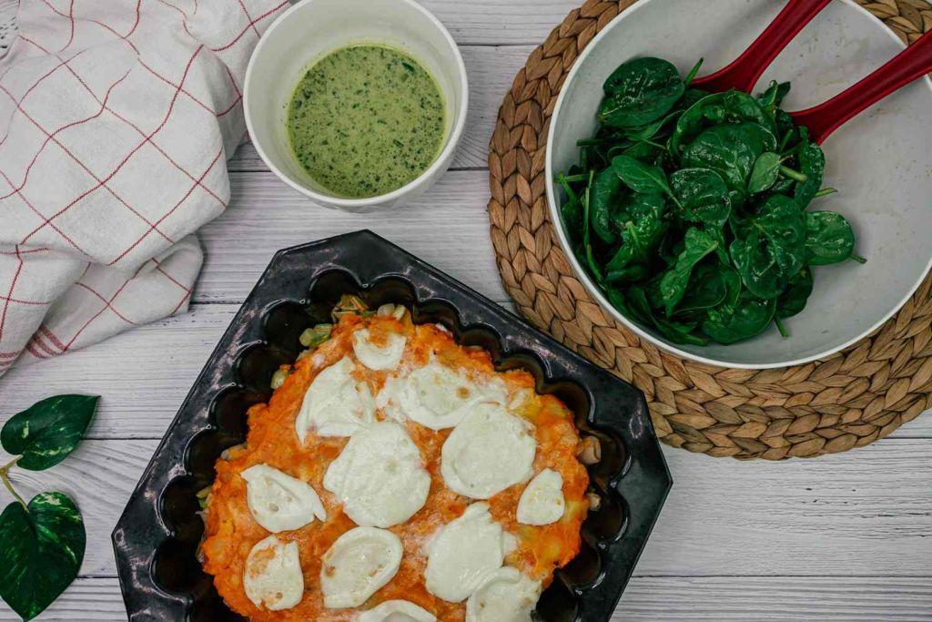 Gratin de patate douce à la mozzarella et pistou d'épinard citronné